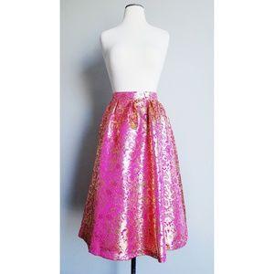 Shabby Apple Kissed W/ Gold Brocade Midi Skirt NWT